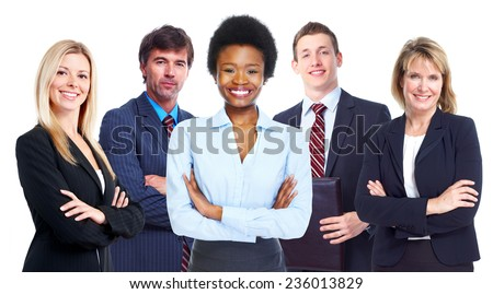 Beautiful african american woman and business team. - stock photo