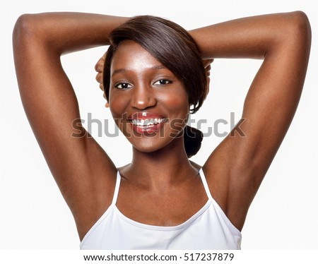 Beautiful  African-American woman. Black Beauty. Armpit's care. Armpit epilation, hair removal, perfect skin.