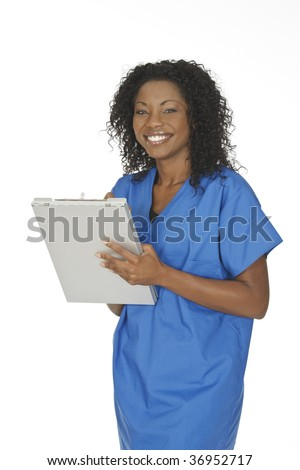 Beautiful African American woman doctor or nurse writing on the pad isolated on a white background