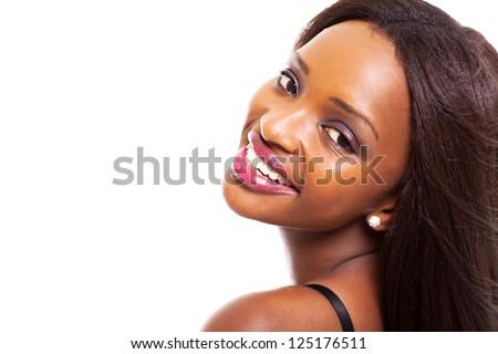 beautiful african american woman headshot on white background - stock photo