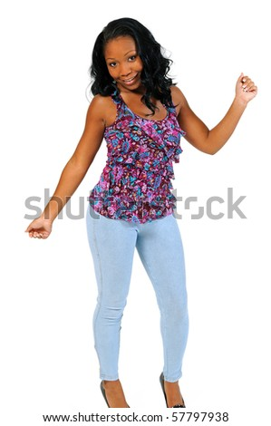Beautiful African American woman in bright blouse - dancing - stock photo