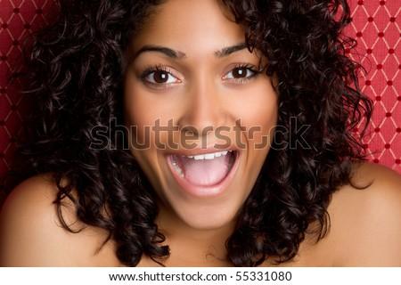 Beautiful african american woman laughing - stock photo
