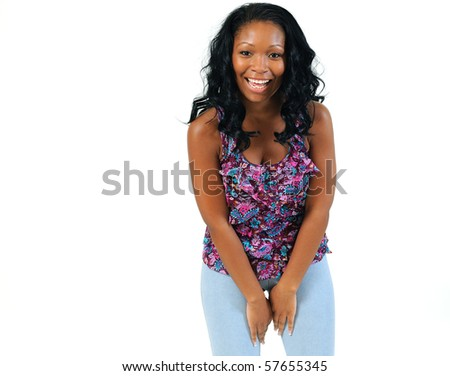 Beautiful african american woman laughing against white background - stock photo
