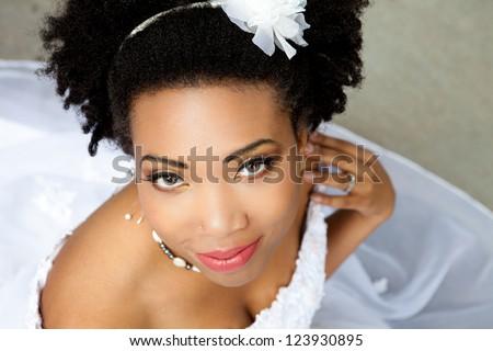 Beautiful African American woman looking at Camera - stock photo