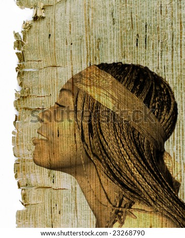 Beautiful African American woman on retro old sepia texture - stock photo