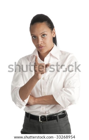 Beautiful African-American woman pointing finger towards camera, isolated on white