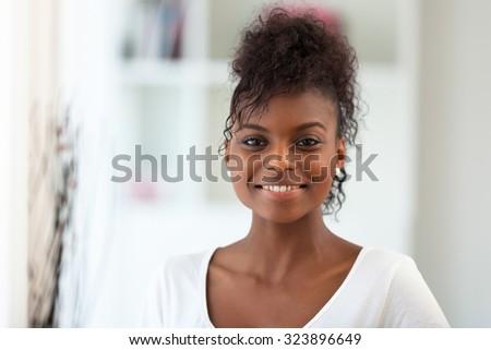 Beautiful African American woman portrait  - Black people - stock photo