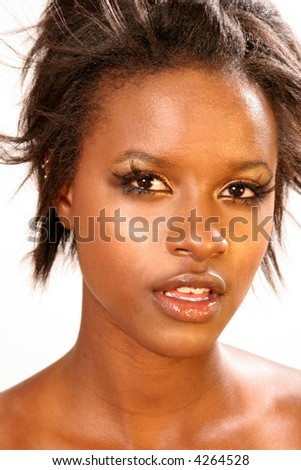 Beautiful African American woman Professional Make-up application