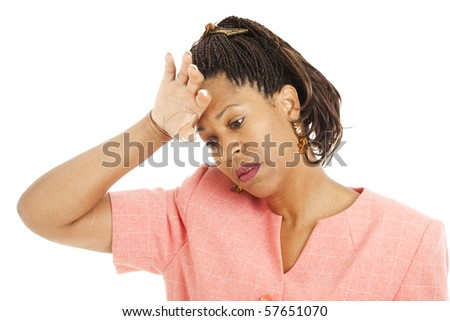 Beautiful african-american woman stressed out.  Isolated on white.