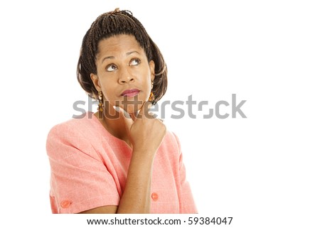 Beautiful African-American woman thinking.  Isolated on white.