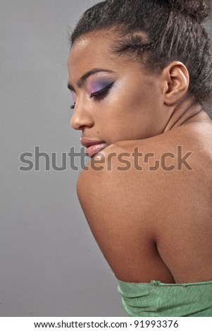 beautiful African American woman with bright fashion make-up - stock photo