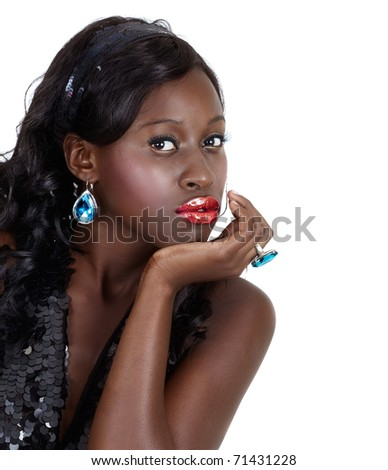 beautiful African American woman with bright fashion make-up and long curly hair wearing sequin top and headband with space for text over white background - stock photo