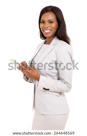 beautiful african businesswoman holding smart phone isolated on white background - stock photo