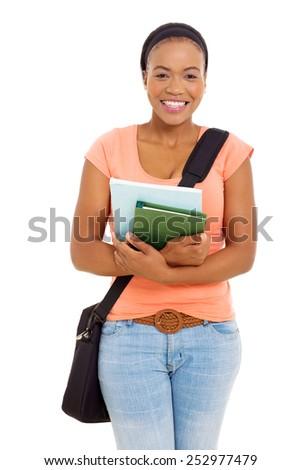 beautiful african college student studio portrait - stock photo