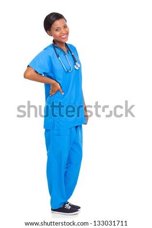 beautiful african female nurse full length portrait isolated on white background - stock photo
