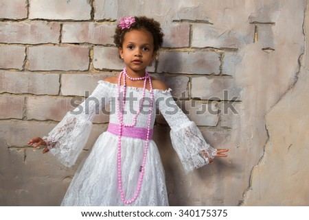 Beautiful african  girl as a little actress. Theatre, acting skills - stock photo
