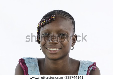 Beautiful African Girl Headshot Portrait Isolated on White - stock photo