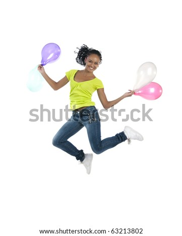 Beautiful african girl jump isolated on white background - stock photo