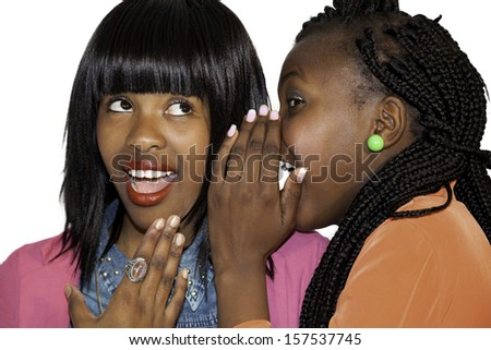 Beautiful African girlfriends against white background - stock photo