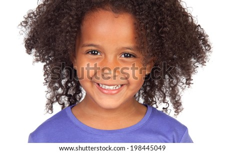 Beautiful african little girl isolated on a white background - stock photo