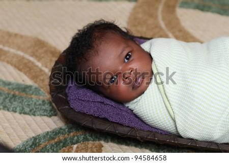 Beautiful African newborn - stock photo
