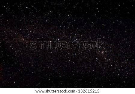 Beautiful african night sky and many stars, galaxy background - stock photo