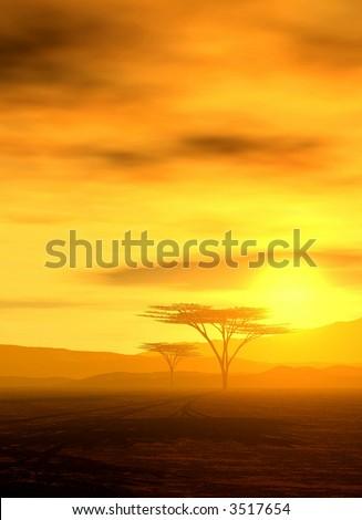 beautiful african sunset - upright format - stock photo