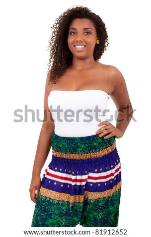 Beautiful african teenage girl isolated on white background - stock photo
