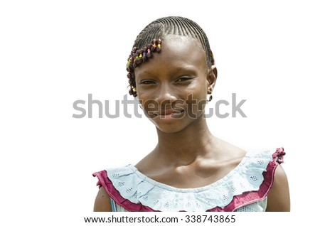 Beautiful African Teenage Girl Posing - Isolated on White