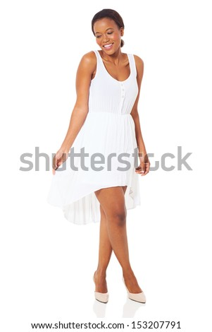 beautiful african woman in white dress - stock photo