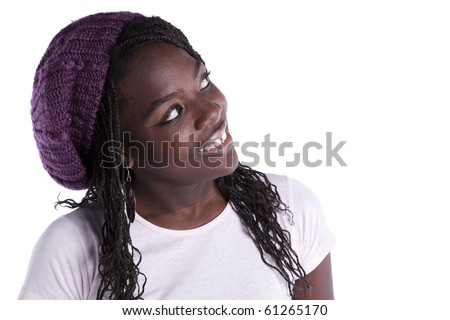 beautiful african woman looking to the copy space (isolated on white) - stock photo