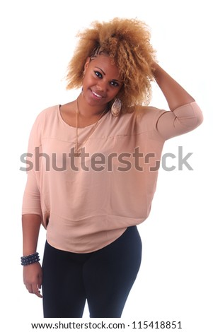 beautiful African woman smiling with long hair afro curly isolated - stock photo