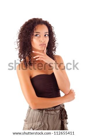 Beautiful african woman thinking - stock photo