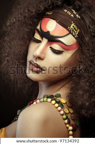 beautiful African woman with artistic make-up