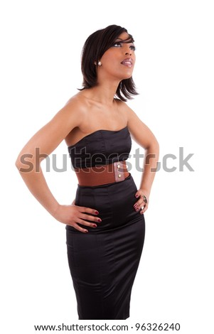 Beautiful african woman with elegant black dress, isolated on white background - stock photo