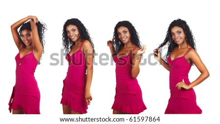beautiful African woman with long curly hair dancing in short pink summer dress - stock photo
