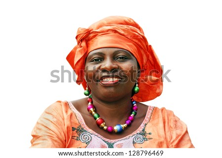 Beautiful African woman with orange scarf on white - stock photo
