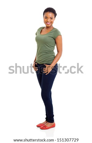beautiful afro american girl posing on white background - stock photo
