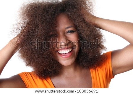 Beautiful afro dutch soccer supporter - stock photo