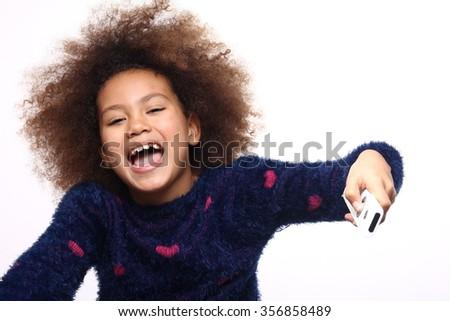 Beautiful afro girl - stock photo