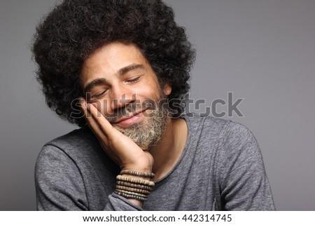 Beautiful afro man posing - stock photo