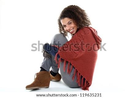 Beautiful afro winter woman - stock photo