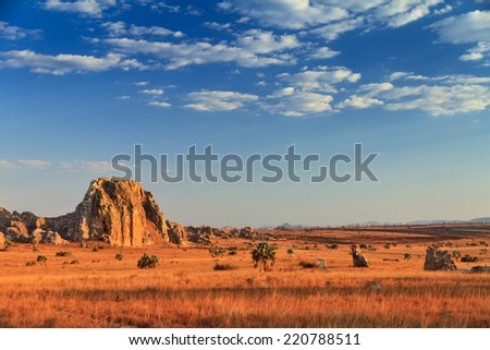 Beautiful afternoon in Isalo national park in Madagascar - stock photo