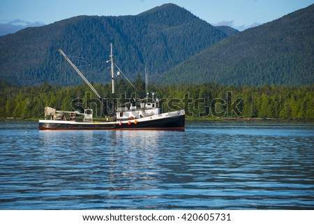 Beautiful Alaskan fishing boat out on the water catching fish - stock photo