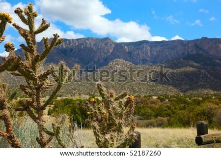 Beautiful Albuquerque landscape with the Sandia Mountains - stock photo
