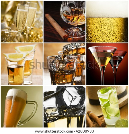 Beautiful alcohol collage made from nine photos - stock photo
