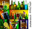 Beautiful alcohol drinks collage - stock photo