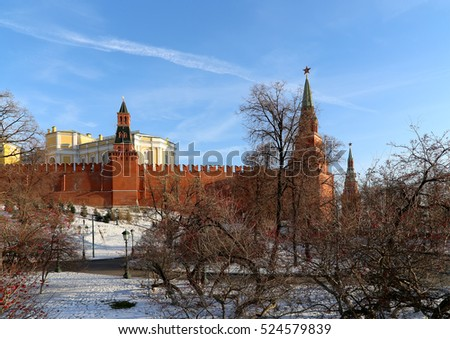 Beautiful Alexander Garden near the ancient Kremlin (winter),  Moscow, Russia