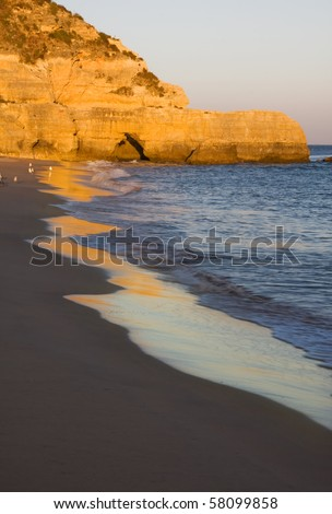 Beautiful Algarve beach at sunset, Portugal - stock photo