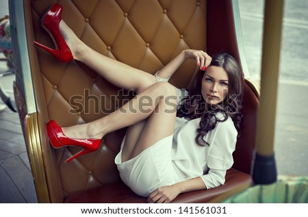 Beautiful alluring woman - stock photo